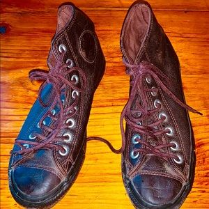 Converse Brown Leather Allstar Hightops 7.
